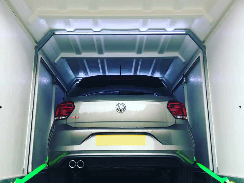 Covered car delivery of VW Polo to Scotland
