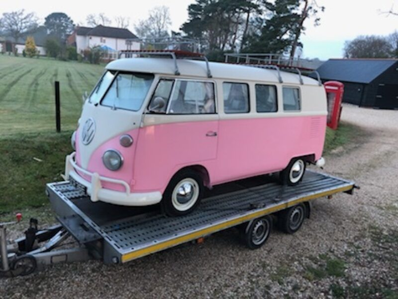 VW T2 camper van in pink